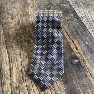 Barney's New York Blue Tan Silk Tie